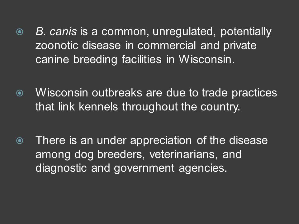 B. canis is a common, unregulated, potentially zoonotic disease in commercial and private canine breeding facilities in Wisconsin.