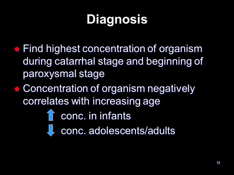 Diagnosis Find highest concentration of organism during catarrhal stage and beginning of paroxysmal stage.