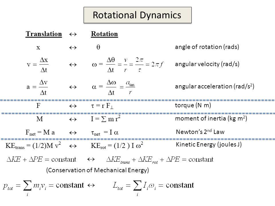 Rotational Dynamics angle of rotation (rads) angular ...