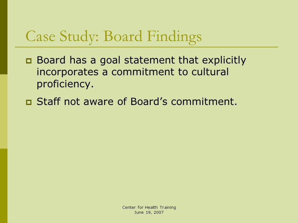 Case Study: Board Findings