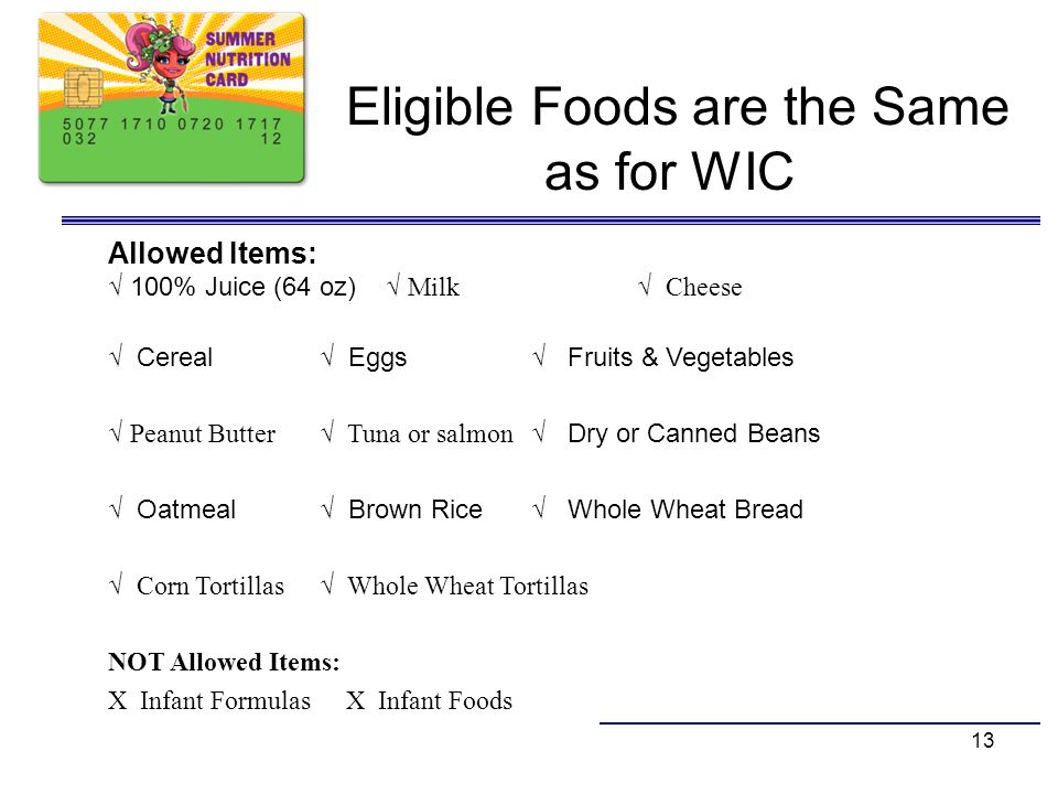 Eligible Foods are the Same as for WIC