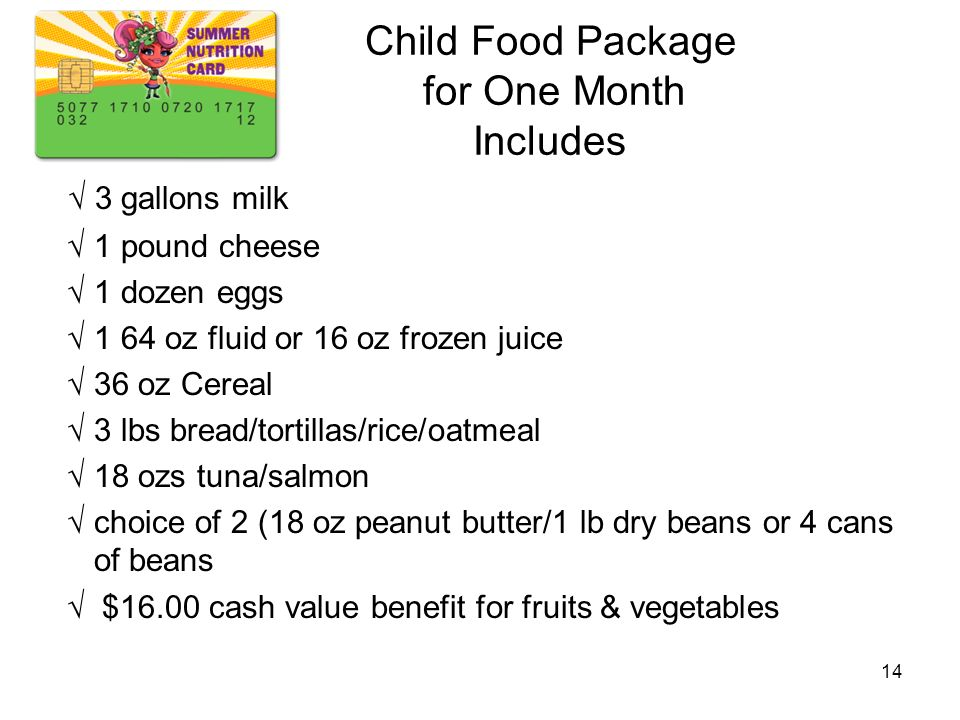 Child Food Package for One Month Includes