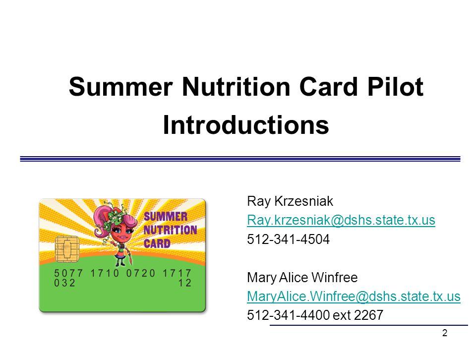 Summer Nutrition Card Pilot