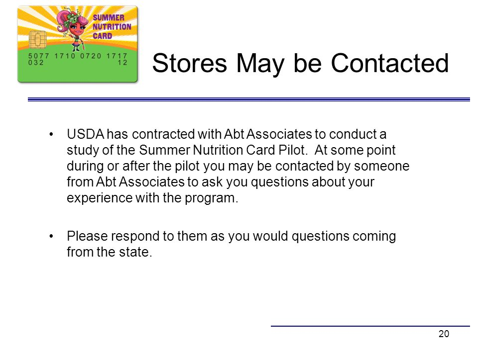 Stores May be Contacted