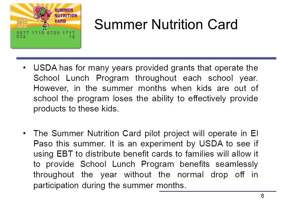Summer Nutrition Card