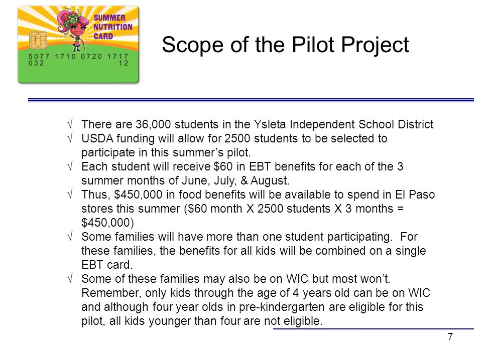 Scope of the Pilot Project