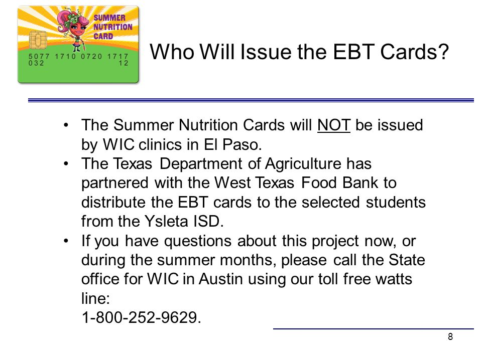 Who Will Issue the EBT Cards