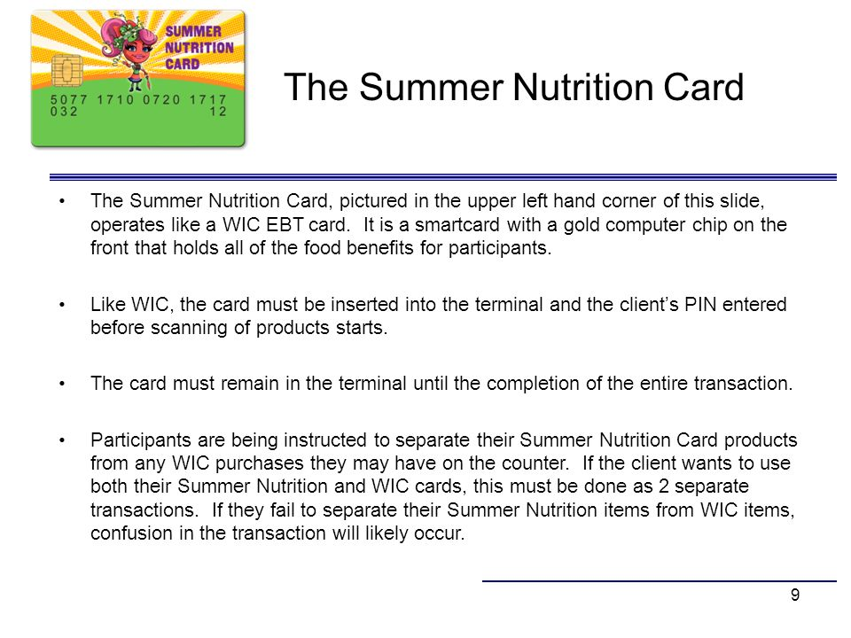 The Summer Nutrition Card