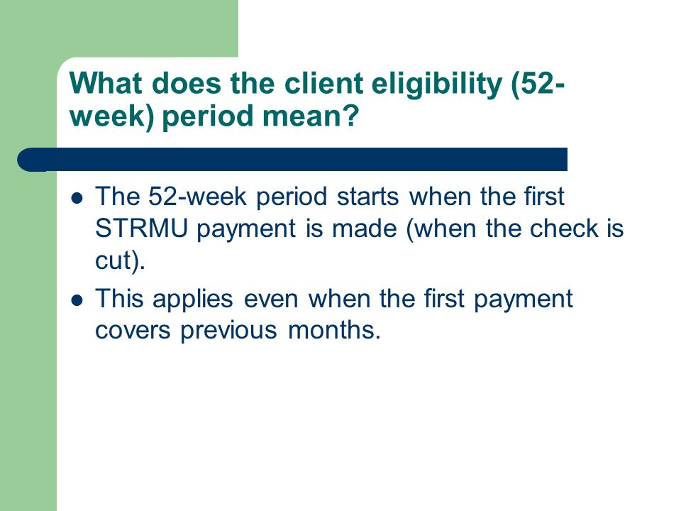 What does the client eligibility (52-week) period mean
