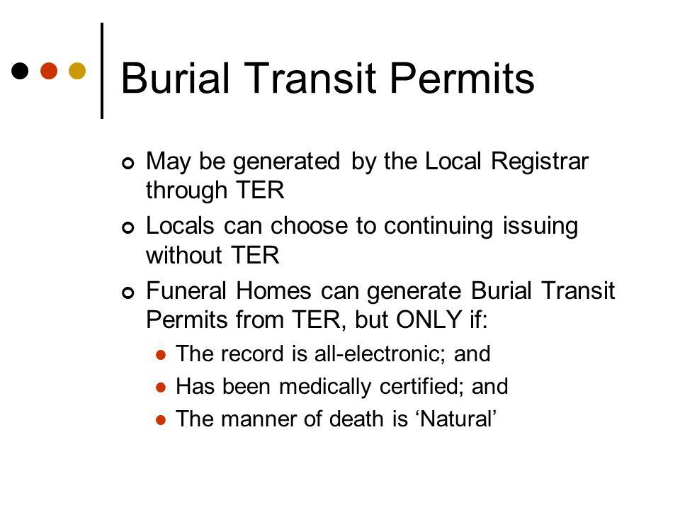 Burial Transit Permits
