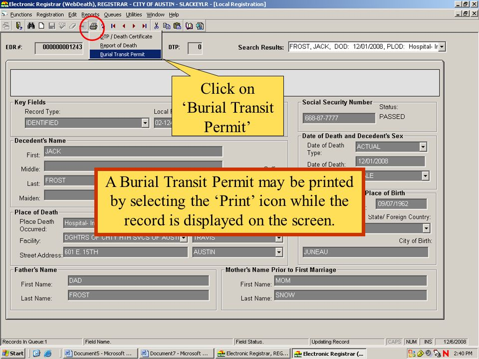 Click on 'Burial Transit Permit'