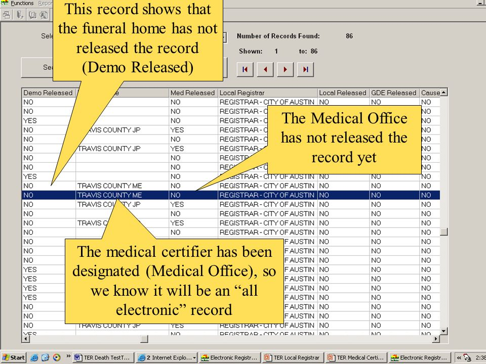The Medical Office has not released the record yet