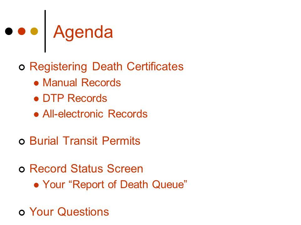 Agenda Registering Death Certificates Burial Transit Permits