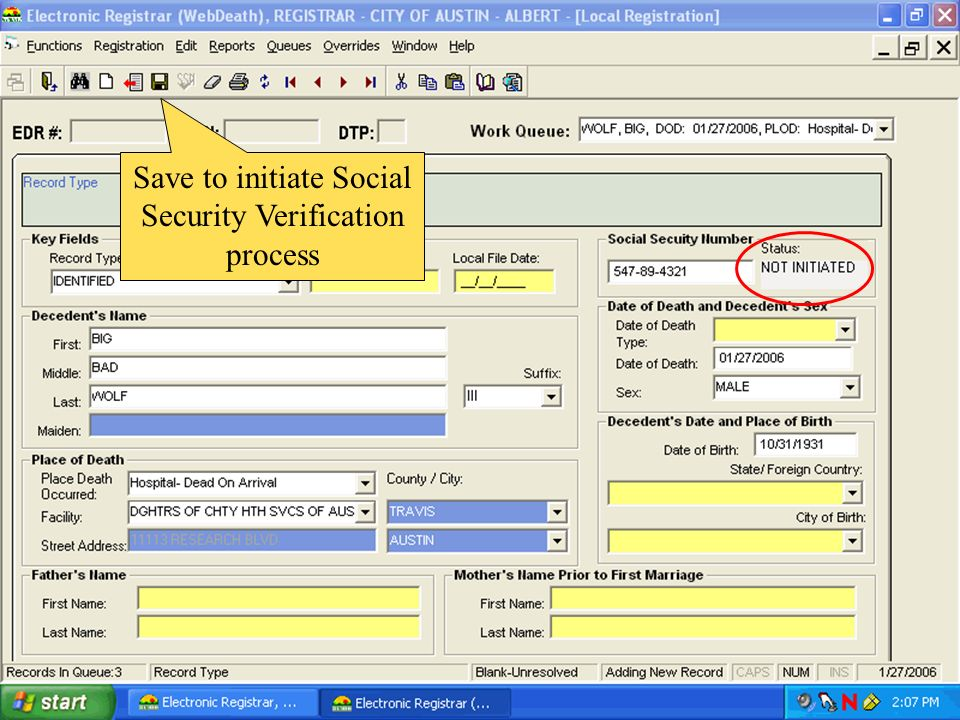 Save to initiate Social Security Verification process