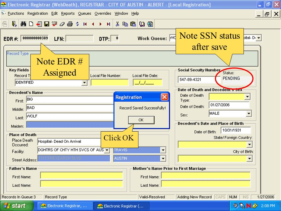 Note SSN status after save