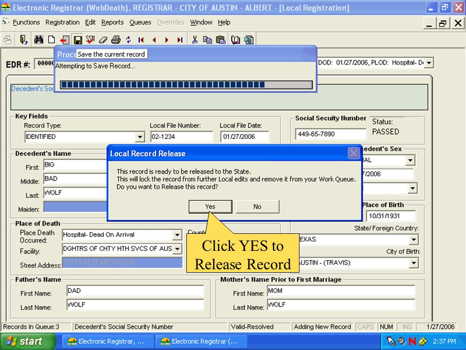 Click YES to Release Record