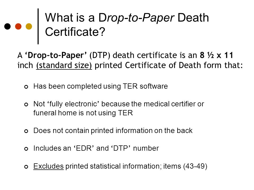 What is a Drop-to-Paper Death Certificate