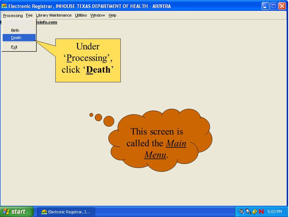 Under 'Processing', click 'Death'