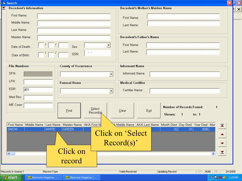 Click on 'Select Record(s)'