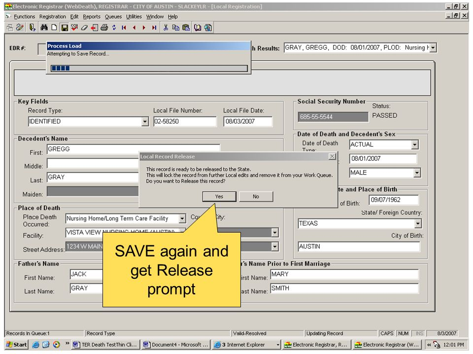 SAVE again and get Release prompt