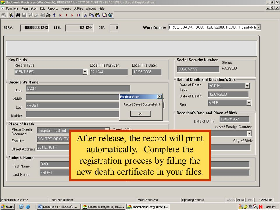 After release, the record will print automatically