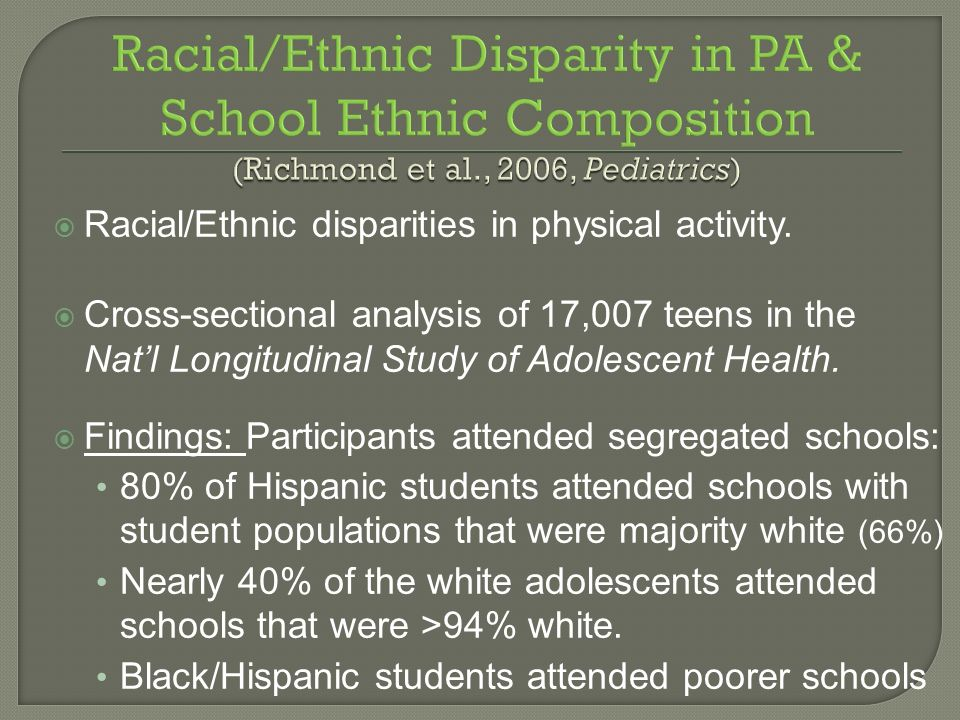 Steps CATCH Project 4-04-08. Racial/Ethnic Disparity in PA & School Ethnic Composition (Richmond et al., 2006, Pediatrics)