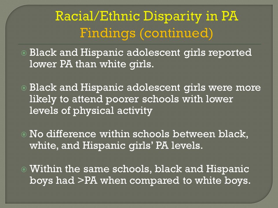 Racial/Ethnic Disparity in PA Findings (continued)