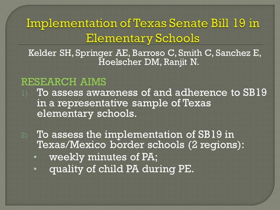 Implementation of Texas Senate Bill 19 in Elementary Schools