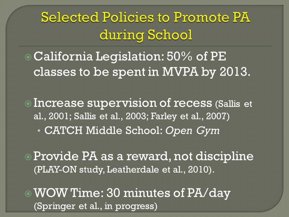 Selected Policies to Promote PA during School