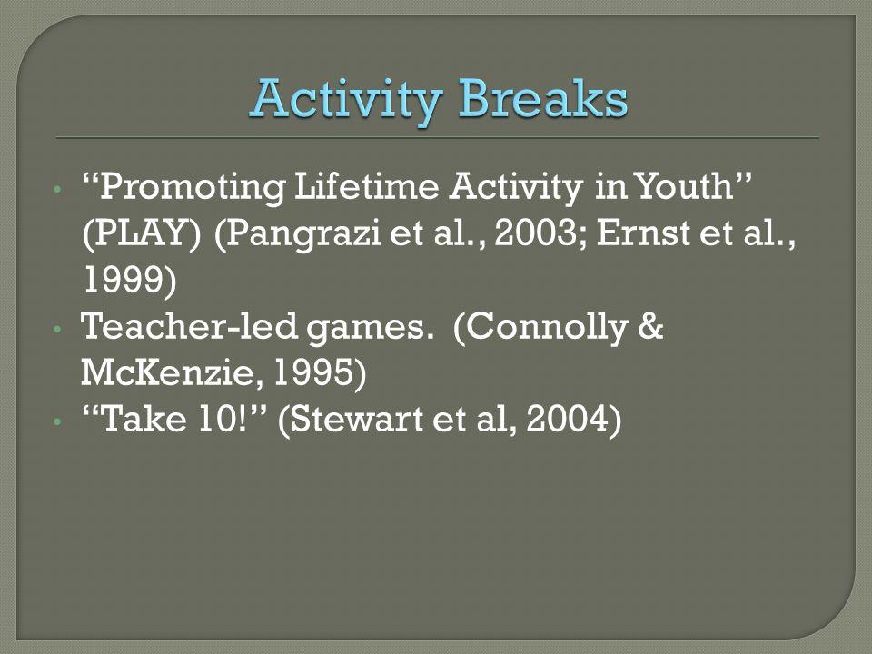 Steps CATCH Project 4-04-08. Activity Breaks. Promoting Lifetime Activity in Youth (PLAY) (Pangrazi et al., 2003; Ernst et al., 1999)