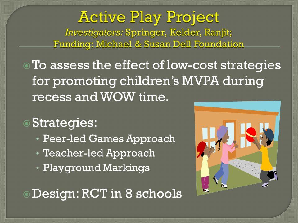 Active Play Project Investigators: Springer, Kelder, Ranjit; Funding: Michael & Susan Dell Foundation
