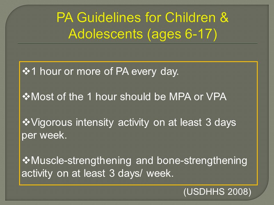 PA Guidelines for Children & Adolescents (ages 6-17)