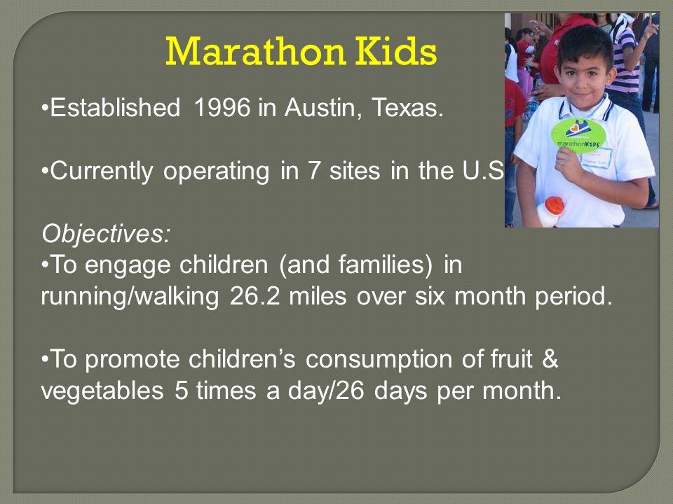 Marathon Kids Established 1996 in Austin, Texas.