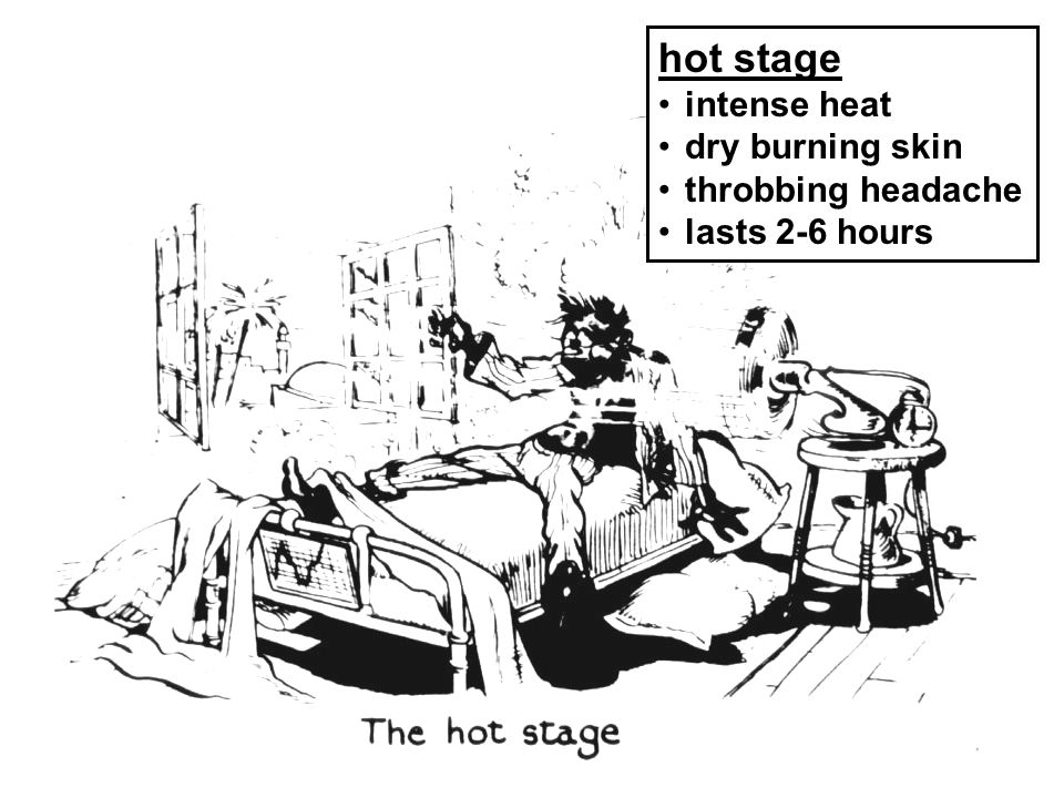 hot stage intense heat dry burning skin throbbing headache