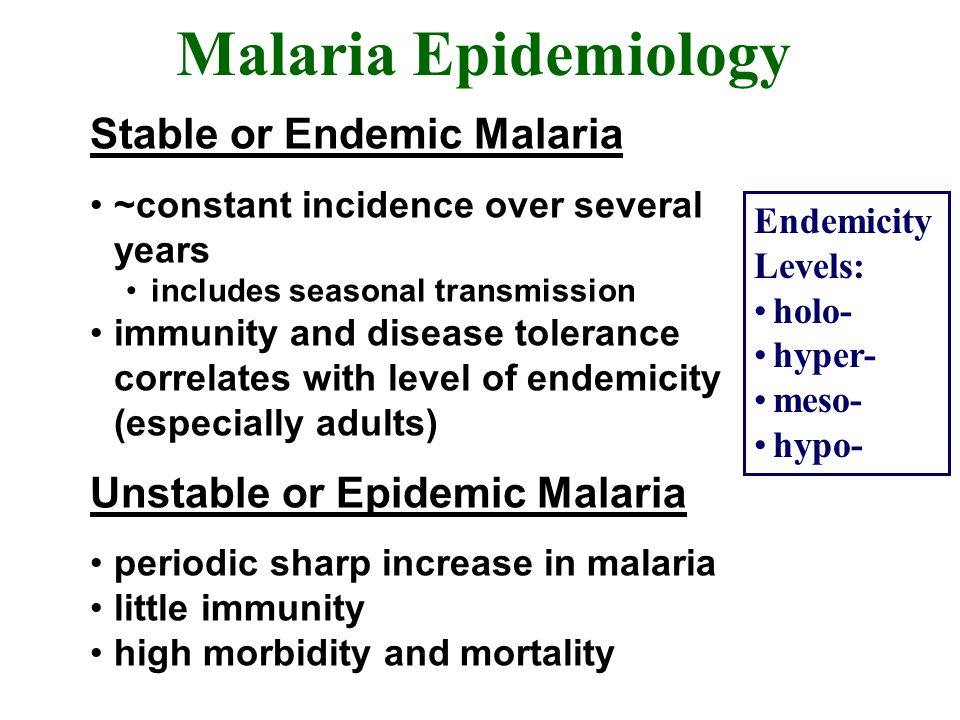 Malaria Epidemiology Stable or Endemic Malaria