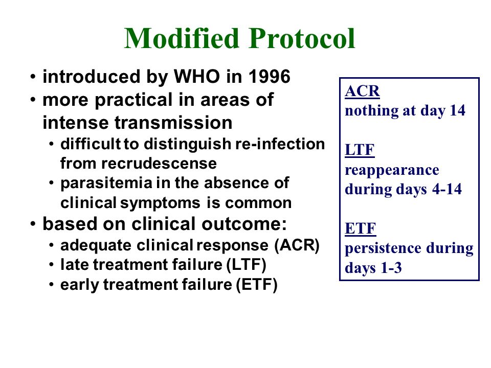 Modified Protocol introduced by WHO in 1996