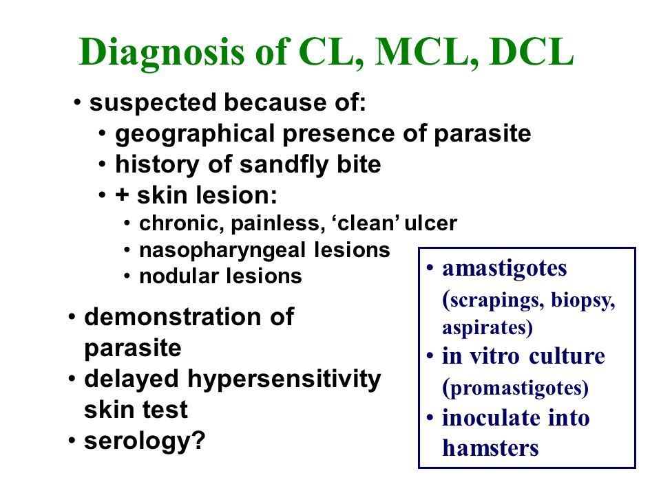 Diagnosis of CL, MCL, DCL suspected because of: