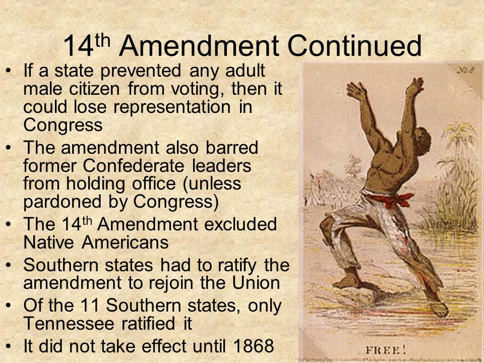 did the congress made amendment 14 After clearing congress in june of 1866, the 14th amendment went to the states  and made it illegal to exempt them  women's rights and the fourteenth amendment.
