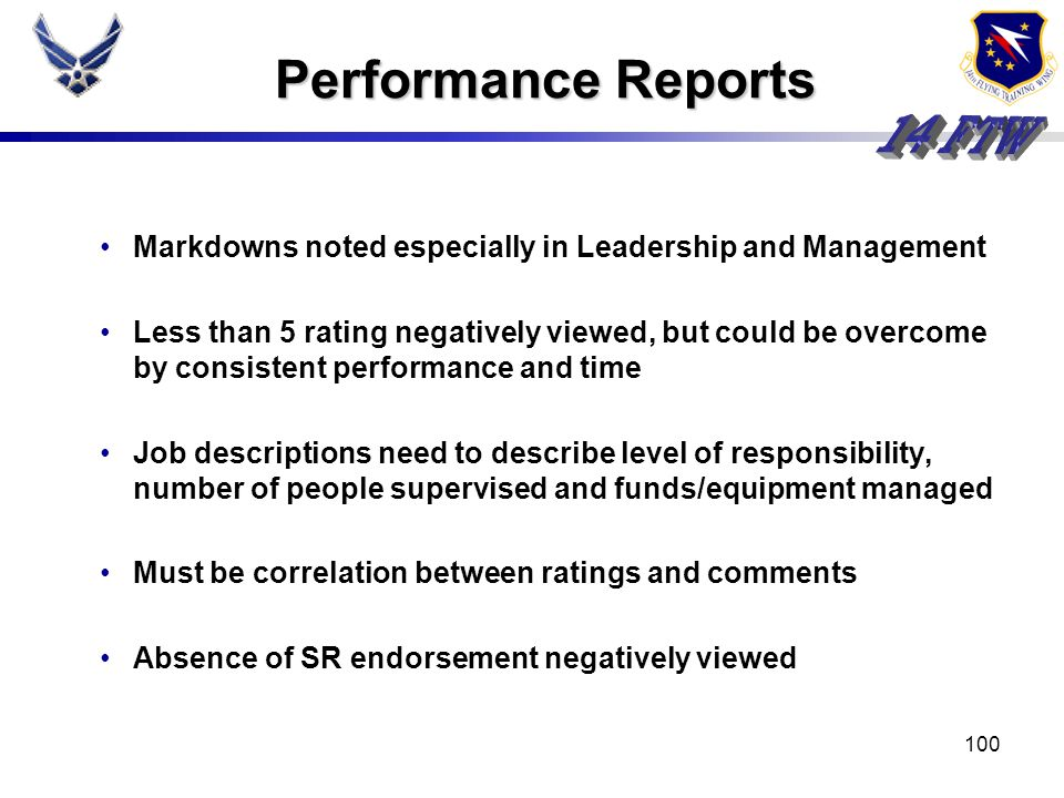 Performance Reports Markdowns noted especially in Leadership and Management.