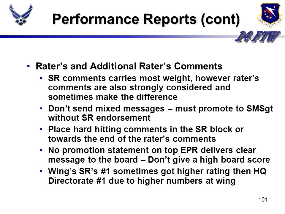 Performance Reports (cont)
