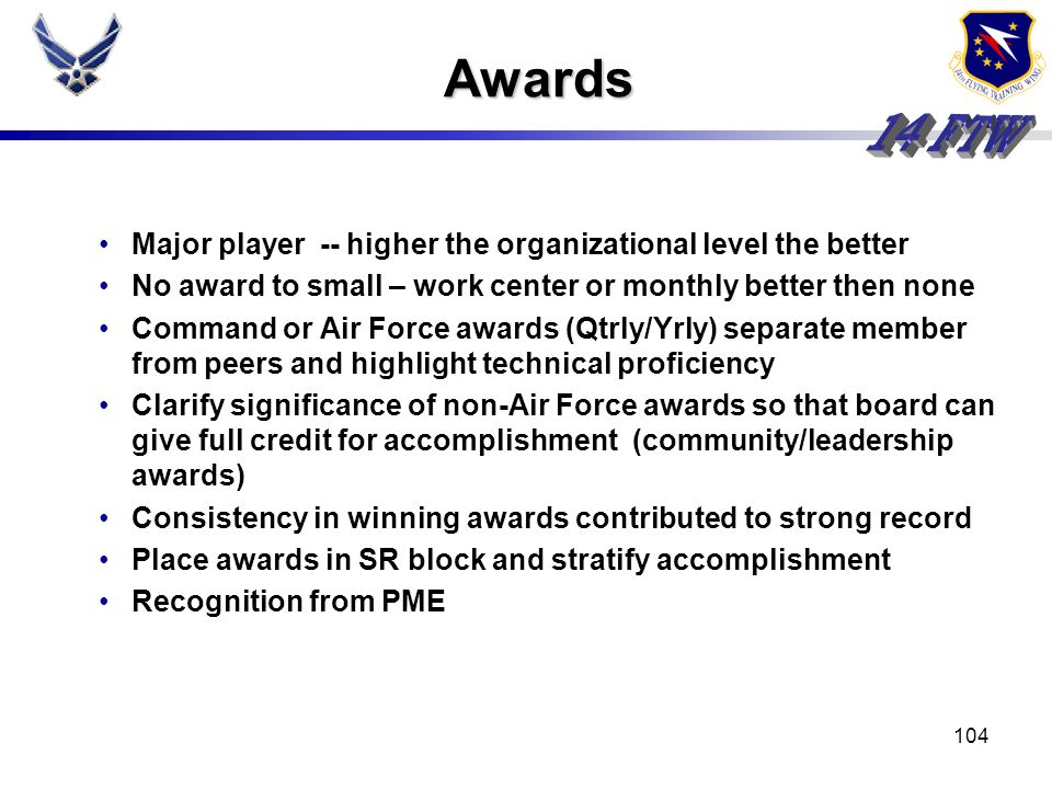 Awards Major player -- higher the organizational level the better