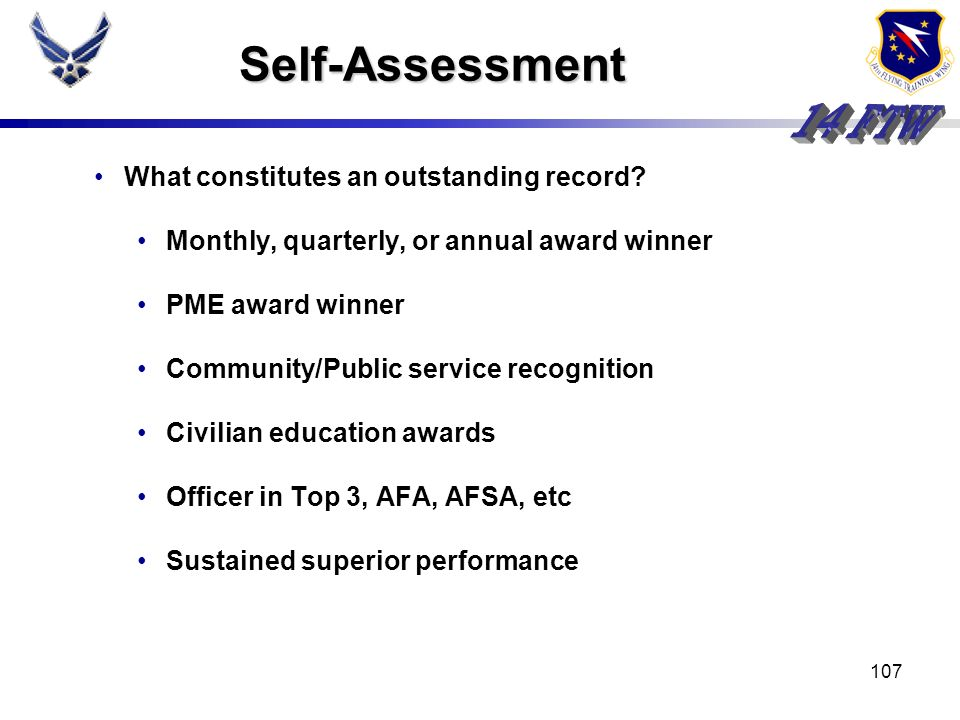 Self-Assessment What constitutes an outstanding record
