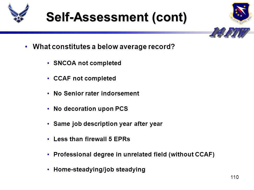 Self-Assessment (cont)