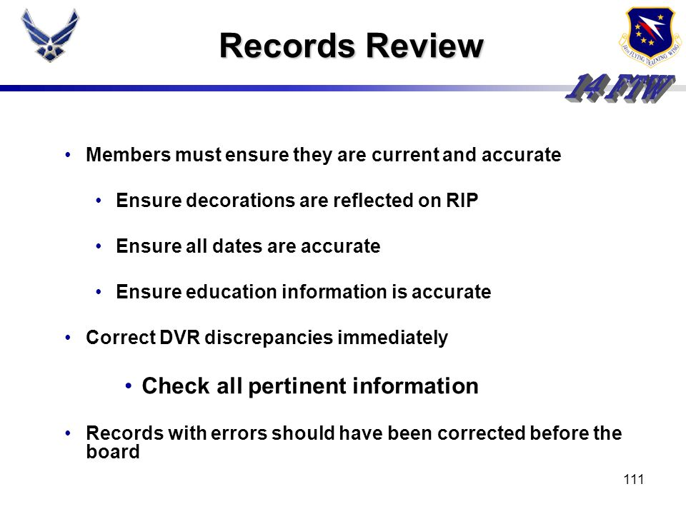 Records Review Check all pertinent information