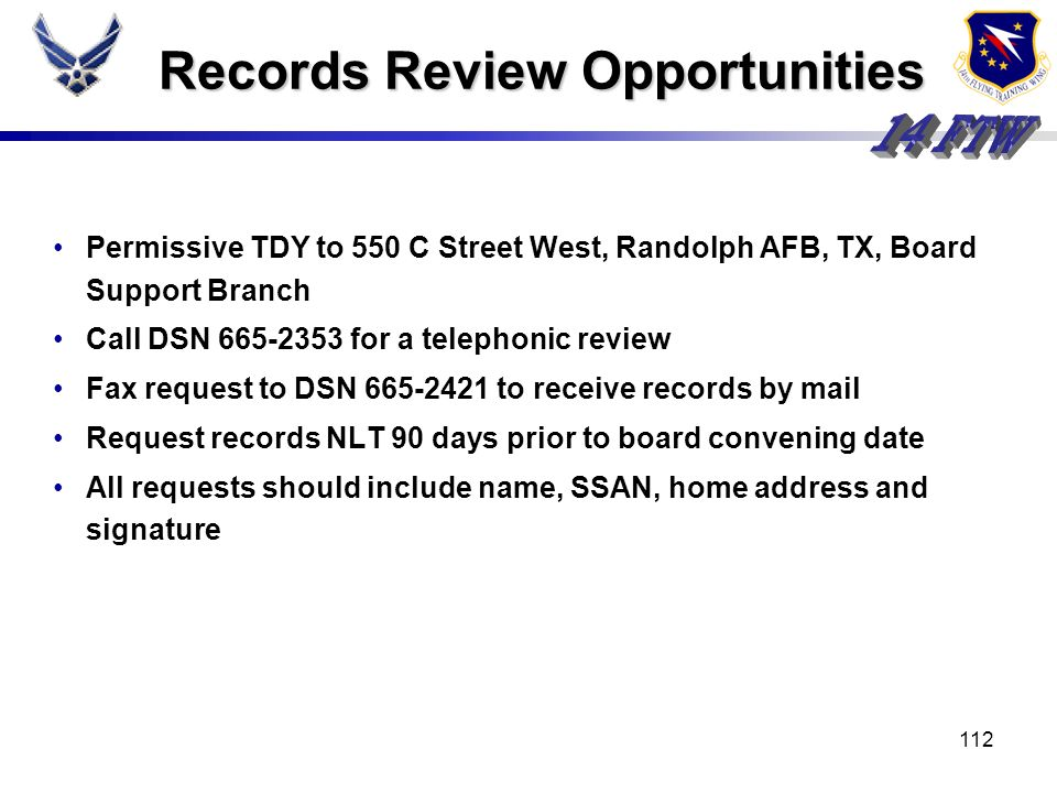 Records Review Opportunities