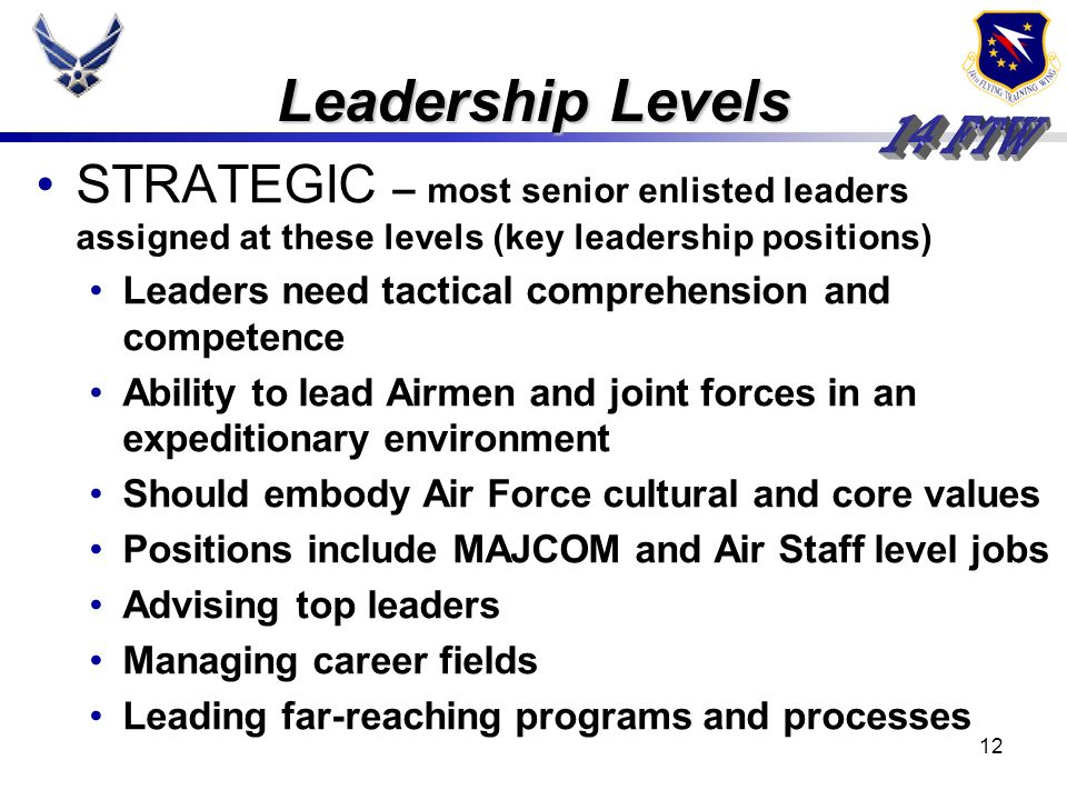 Leadership Levels STRATEGIC – most senior enlisted leaders assigned at these levels (key leadership positions)