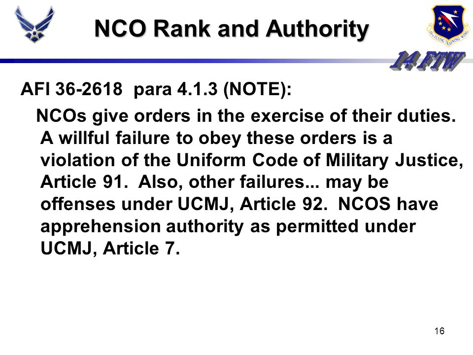NCO Rank and Authority AFI 36-2618 para 4.1.3 (NOTE):