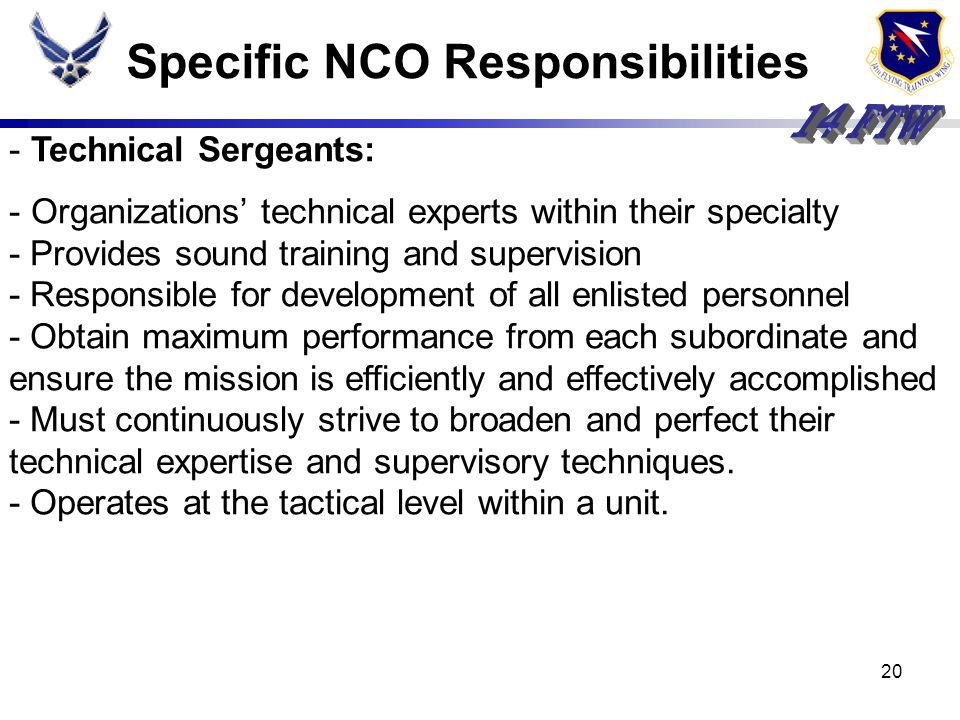Specific NCO Responsibilities