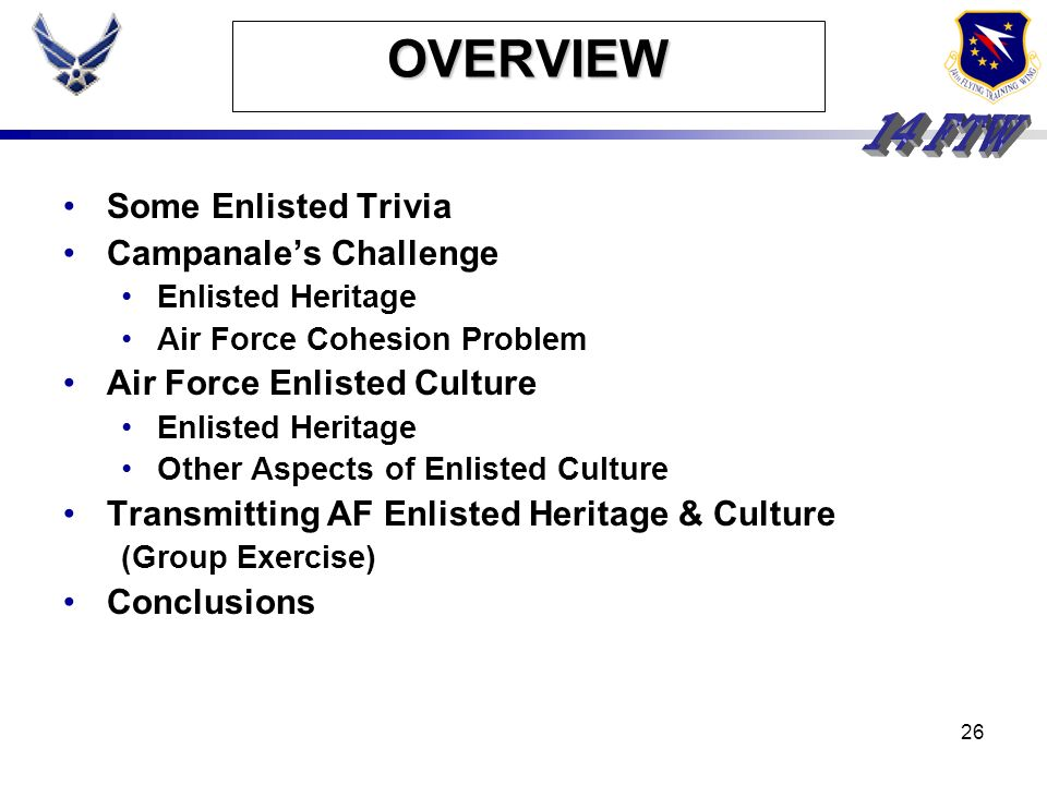 OVERVIEW Some Enlisted Trivia Campanale's Challenge