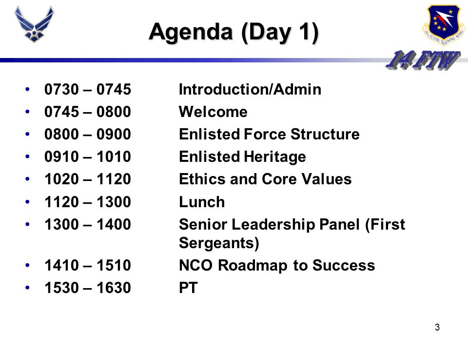 Agenda (Day 1) 0730 – 0745 Introduction/Admin 0745 – 0800 Welcome